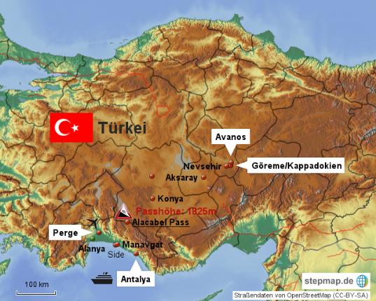 Karte Türkei.Türkei Karte Klaus Edda S Reise Und Wanderseiten